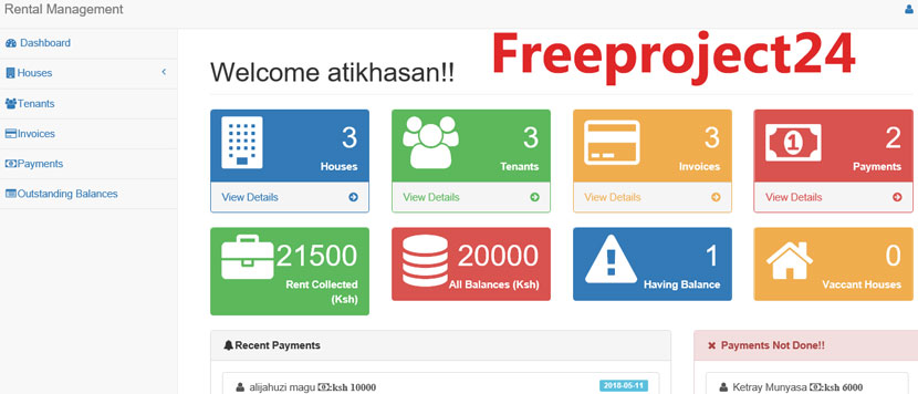 PHP Free Project in Rental Management System | Freeproject24